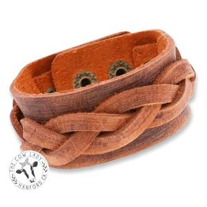 Brown Leather Western Cowgirl Cuff Bracelet New